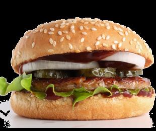 Бургер с говядиной и брусничним соусом